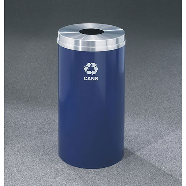 Glaro RecyclePro 1 Bottle Recycling Bin - 2015 x 31 - 16 Gallon - B1532BE - finished in Midnight Blue with a Satin Aluminum cover, Recycling Cans Label