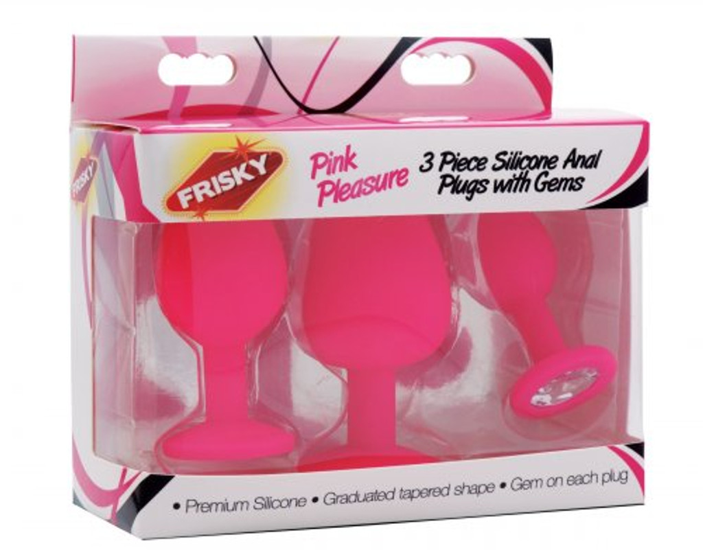 Pink Pleasure 3 Piece Silicone Anal Plugs with Gems (packaged)