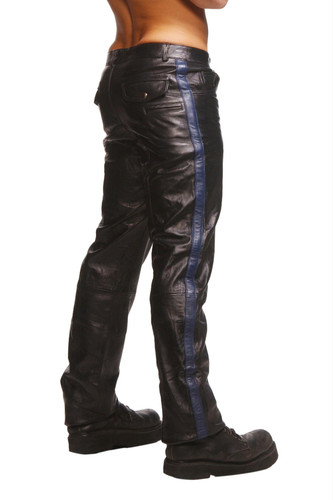 Police Leather Pants with Blue Stripe Size : 34-34