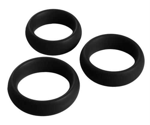 3 Piece Silicone Cock Ring Set (AD143-Black)