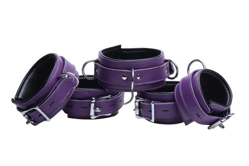 Purple 5 Piece Locking Leather Bondage Set (AE792)