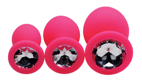Pink Pleasure 3 Piece Silicone Anal Plugs with Gems (AE902-Pink)