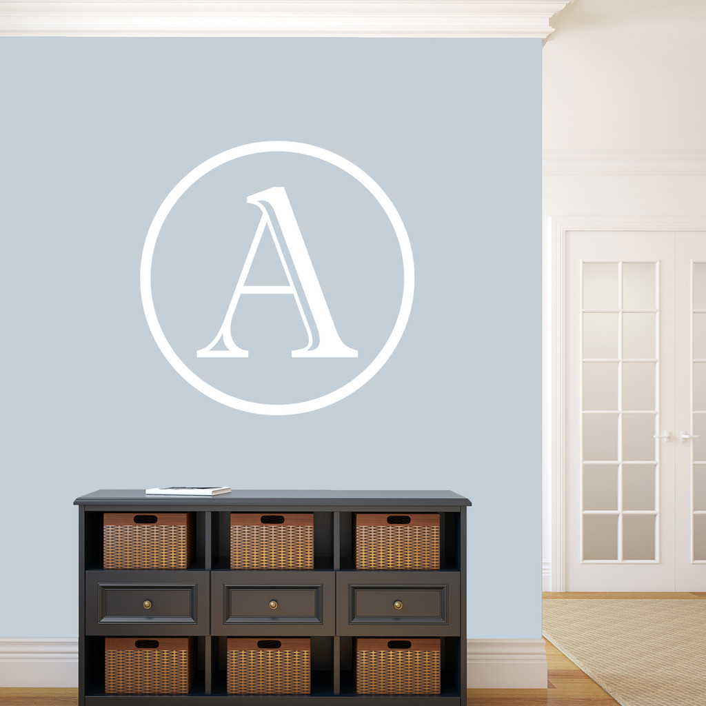 """Contemporary Monogram Wall Decal 36"""" wide x 36"""" tall Sample Image"""