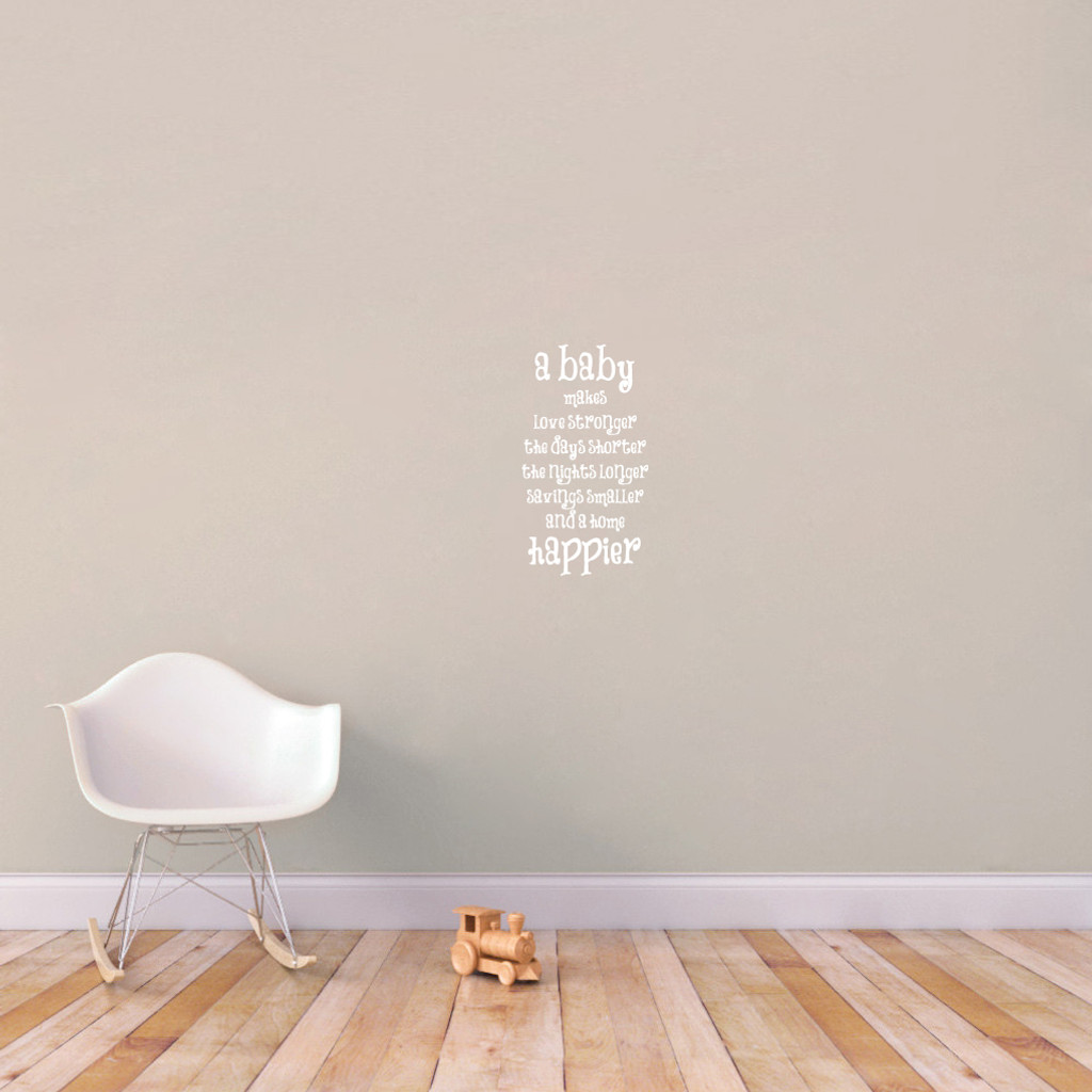 "A Baby Makes Wall Decal 12"" wide x 22"" tall Sample Image"
