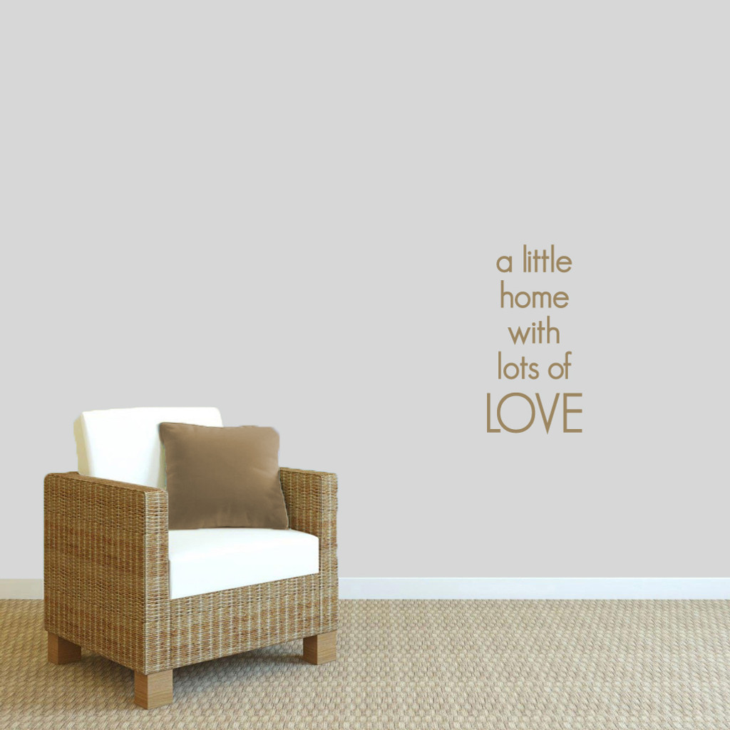 """A Little Home With Lots Of Love Wall Decals 12"""" wide x 24"""" tall Sample Image"""