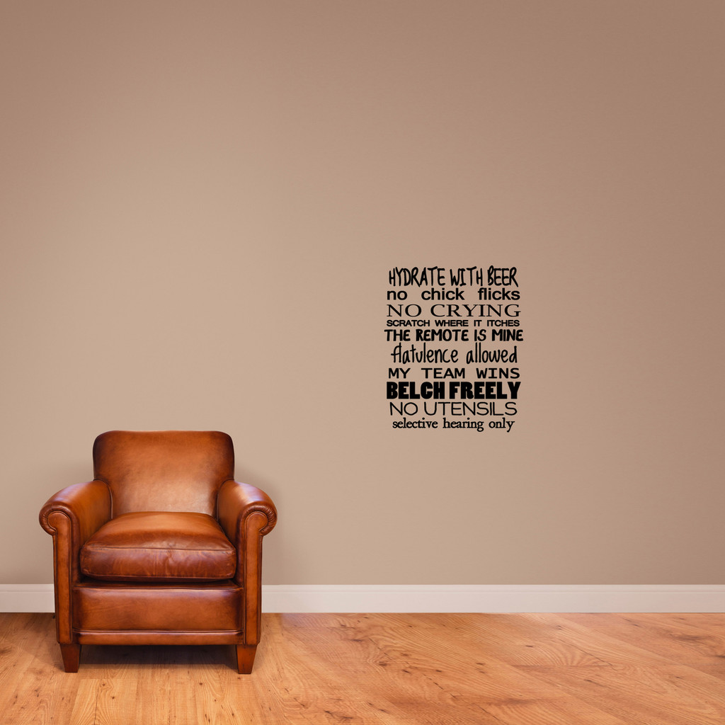 """Man Rules Wall Decal 20"""" wide x 24"""" tall Sample Image"""