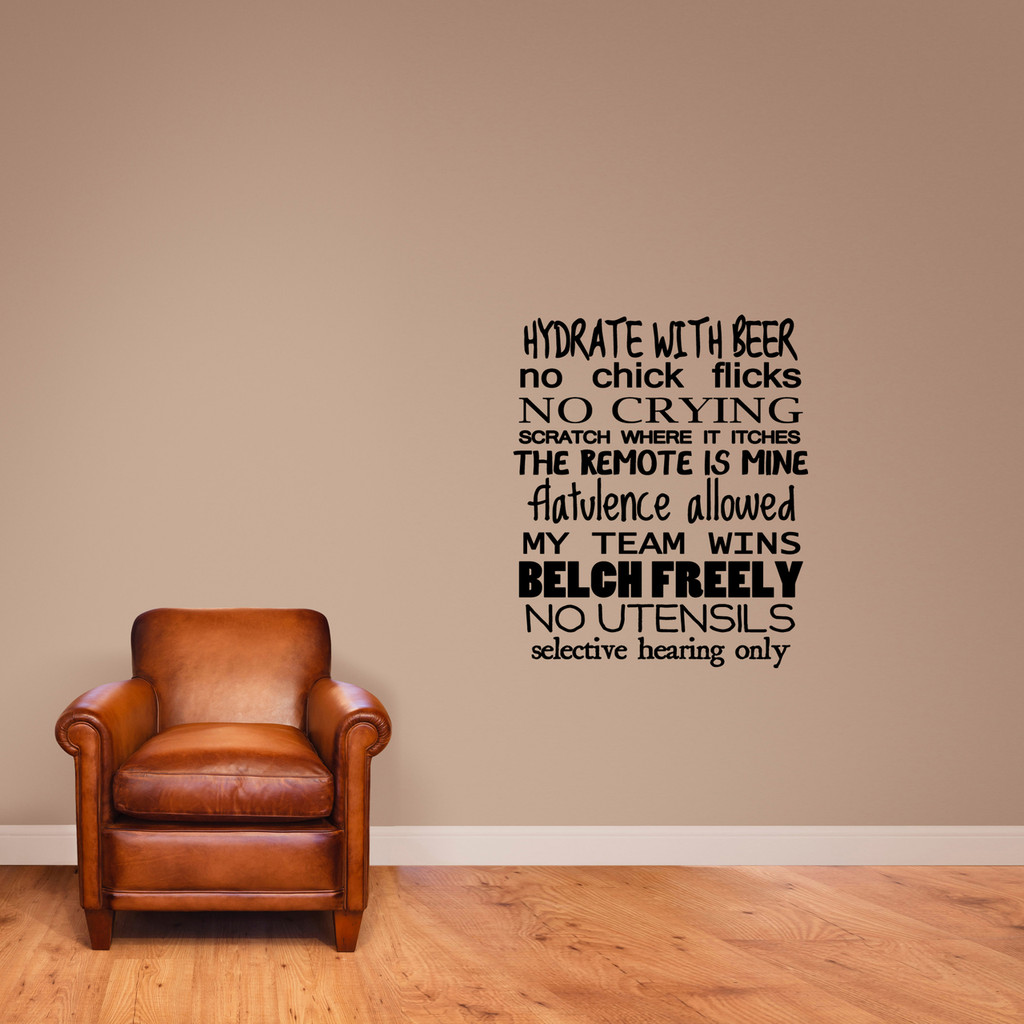 """Man Rules Wall Decal 30"""" wide x 36"""" tall Sample Image"""