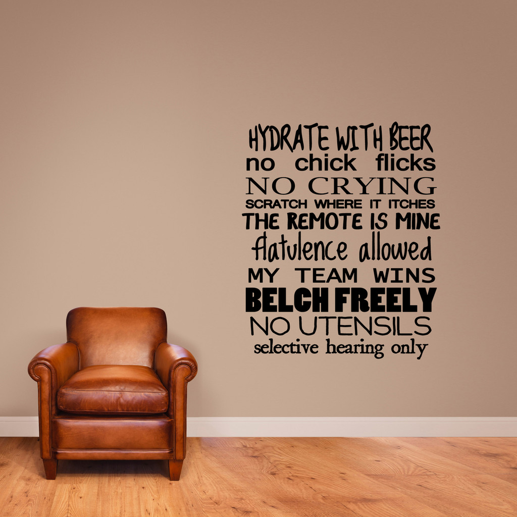 """Man Rules Wall Decal 40"""" wide x 48"""" tall Sample Image"""