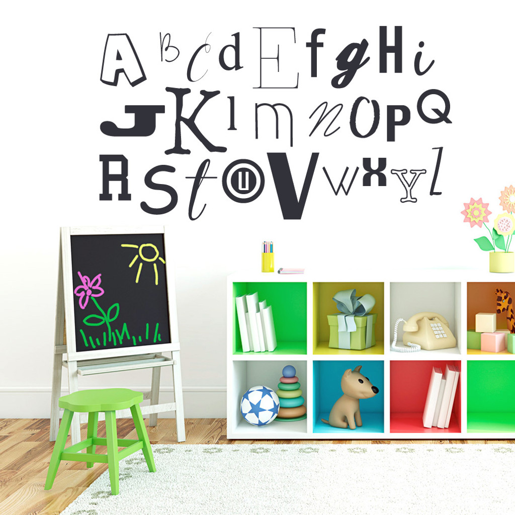 """Alphabet Wall Decals 58"""" wide x 32"""" tall Sample Image"""