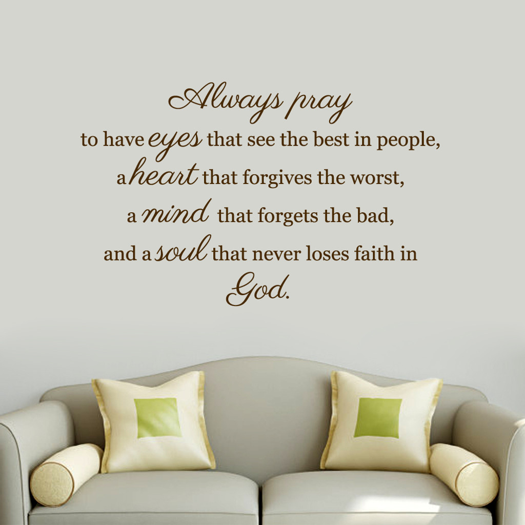"""Always Pray Wall Decals 48"""" wide x 30"""" tall Sample Image"""