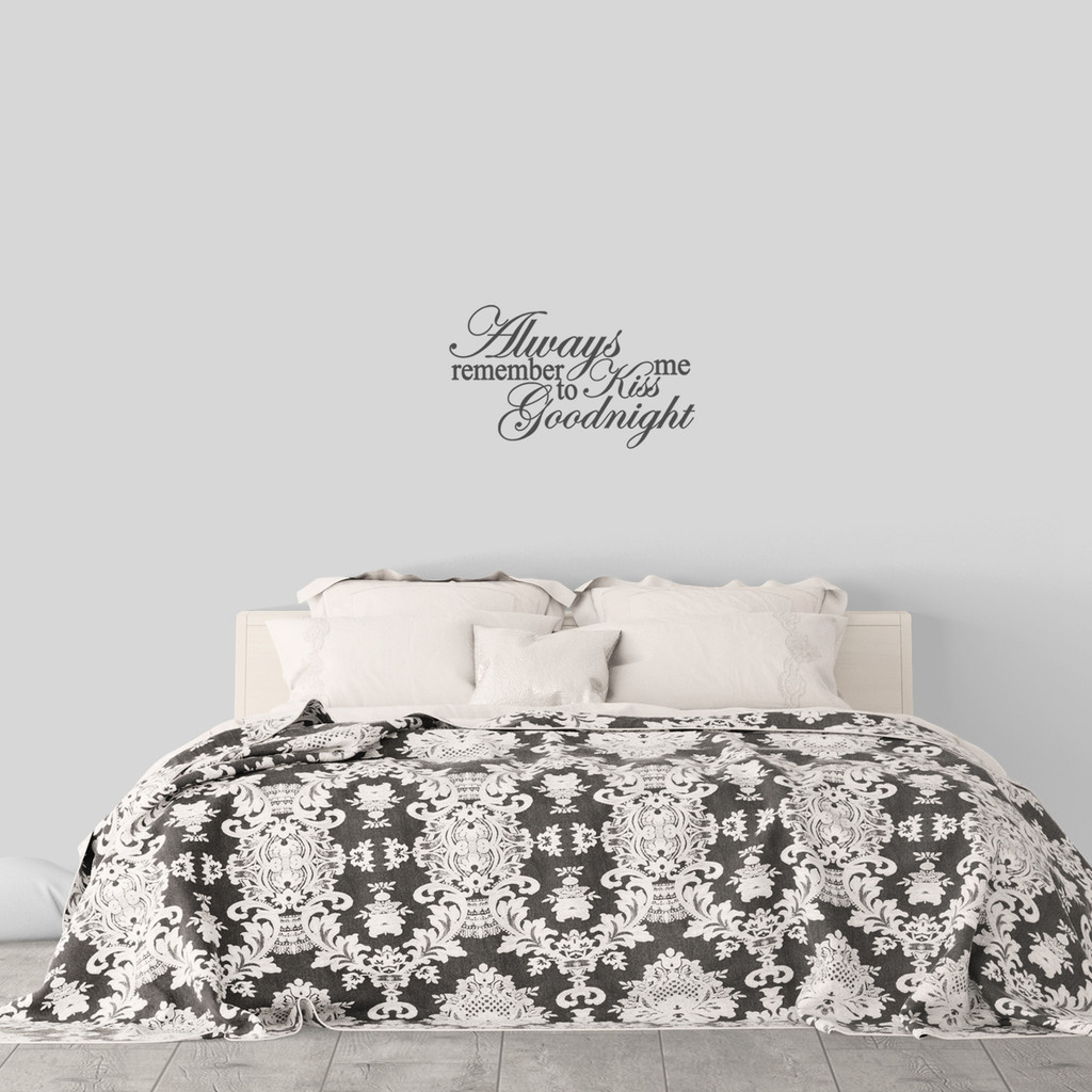 "Kiss Me Goodnight Wall Decal 24"" wide x 14"" tall Sample Image"