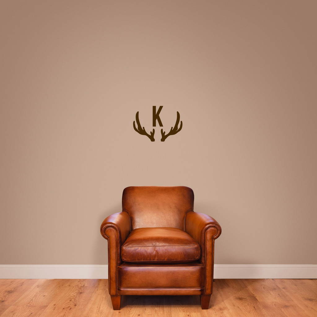 "Antlers Monogram Wall Decal 18"" wide x 13"" tall Sample Image"