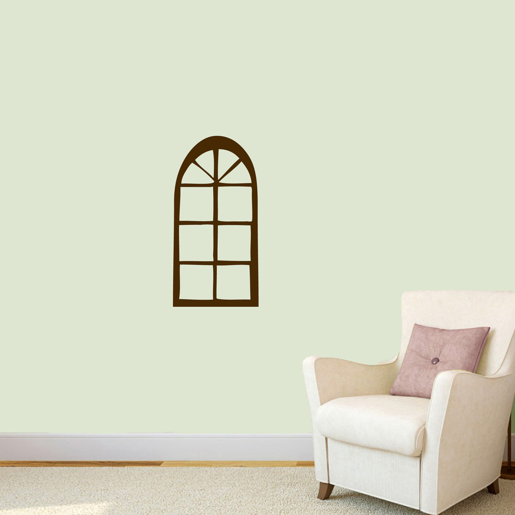 "Arched Window Wall Decal 12"" wide x 24"" tall Sample Image"