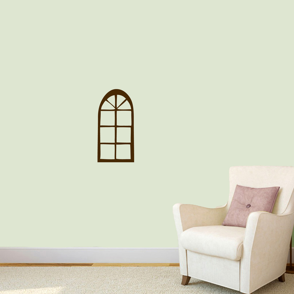 "Arched Window Wall Decal 9"" wide x 18"" tall Sample Image"