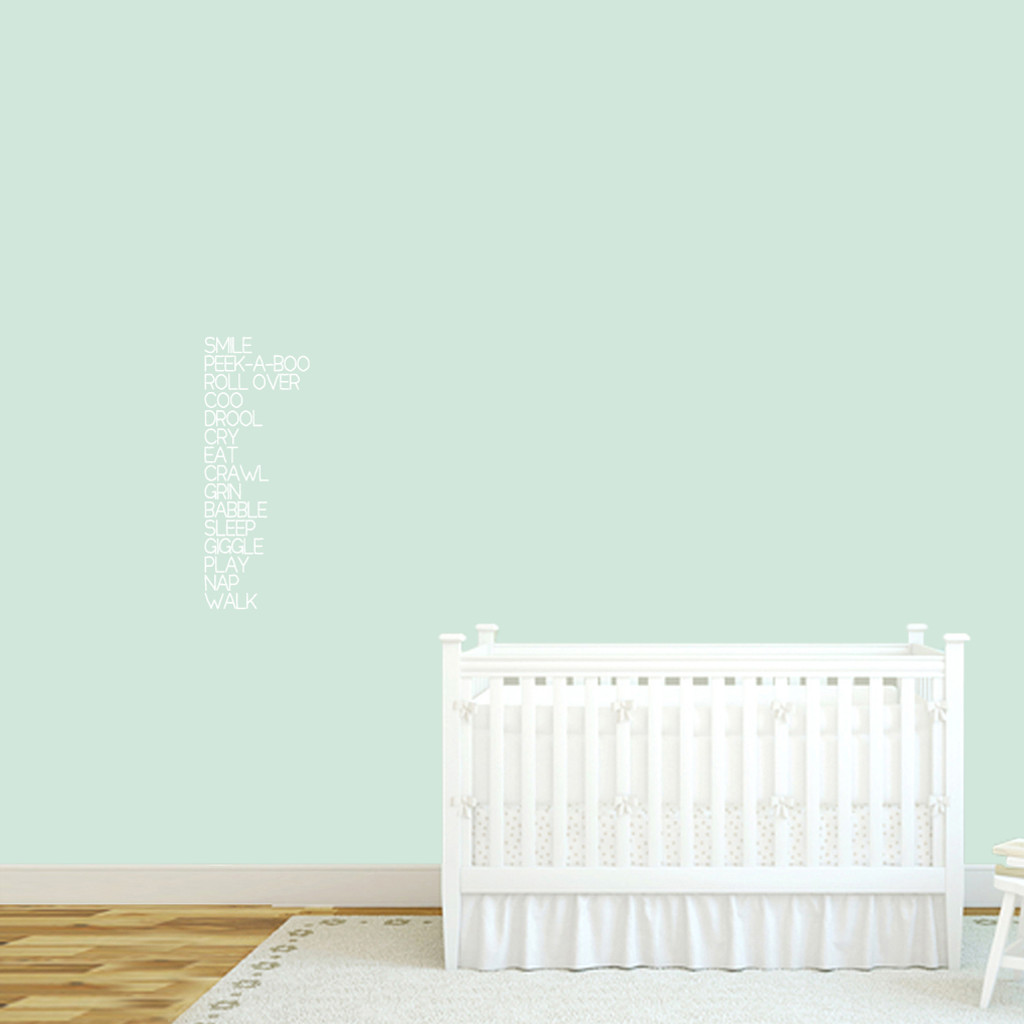 "Baby Words Wall Decal 10"" wide x 26"" tall Sample Image"