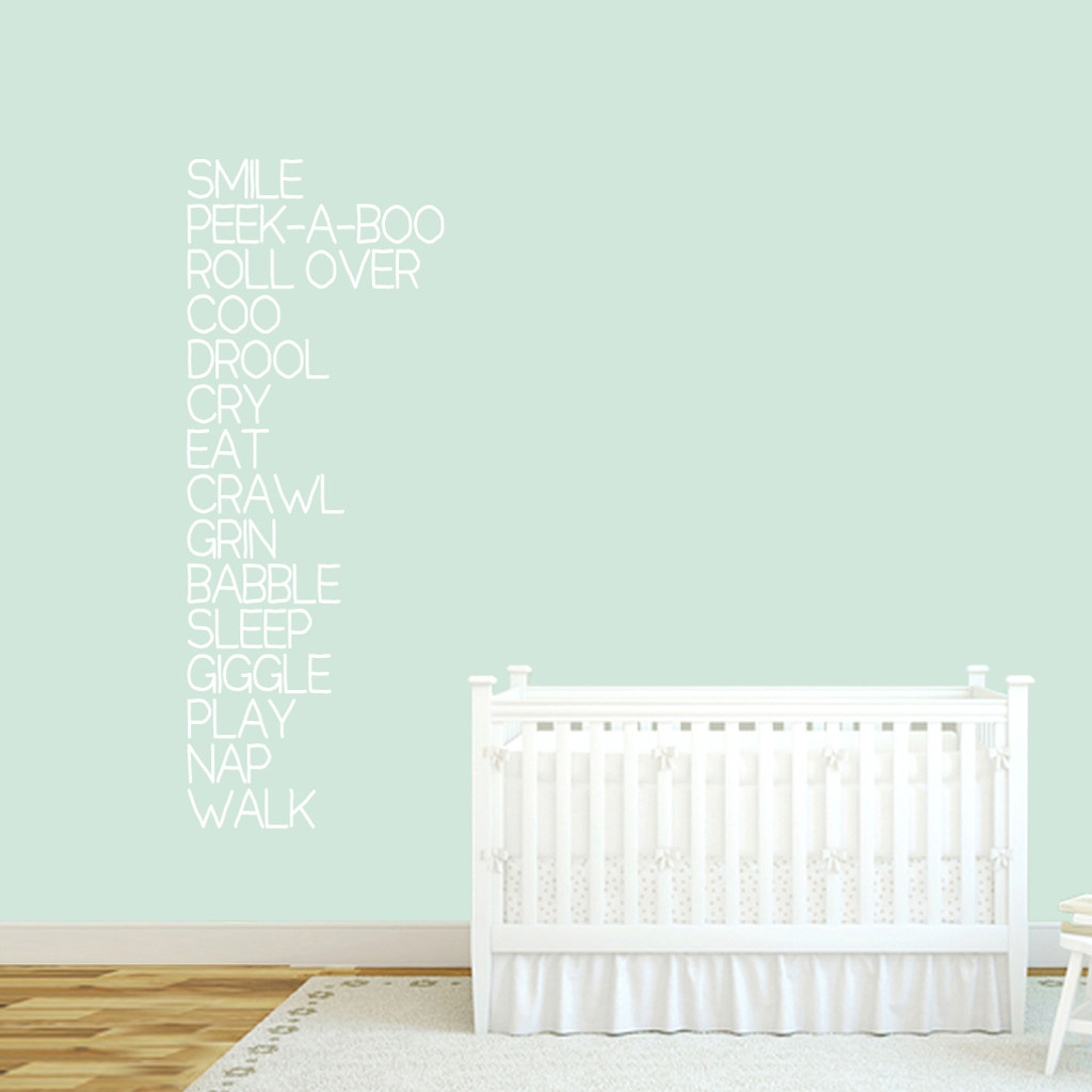 "Baby Words Wall Decal 22"" wide x 60"" tall Sample Image"