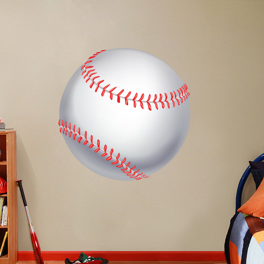 "Printed Baseball Wall Decals 36"" wide x 36"" tall Sample Image"