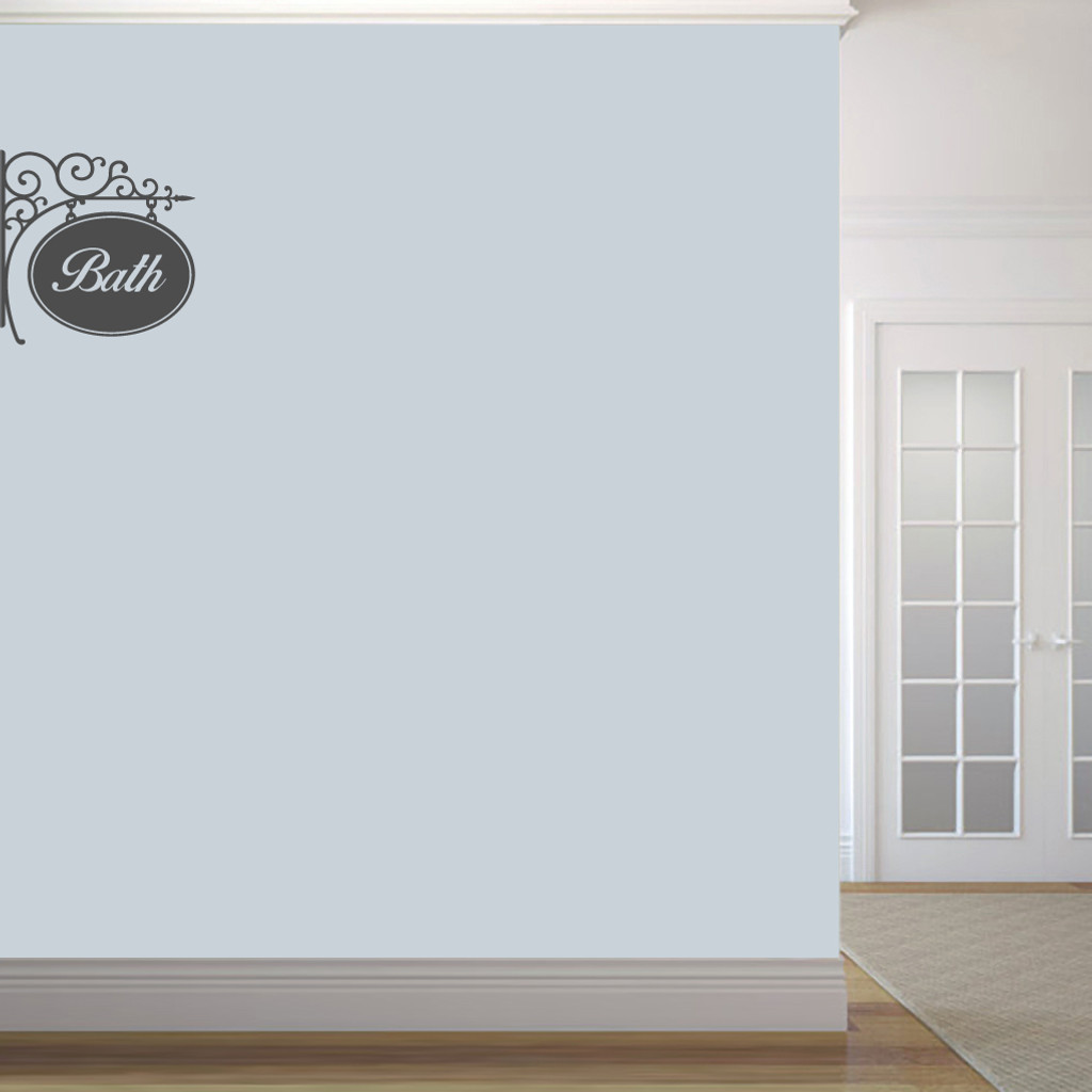 "Bath Sign Wall Decals 18"" wide x 18"" tall Sample Image"