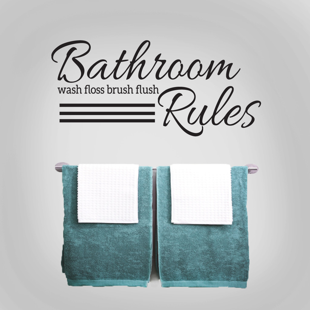 "Bathroom Rules Wall Decals 36"" wide x 16.5"" tall Sample Image"