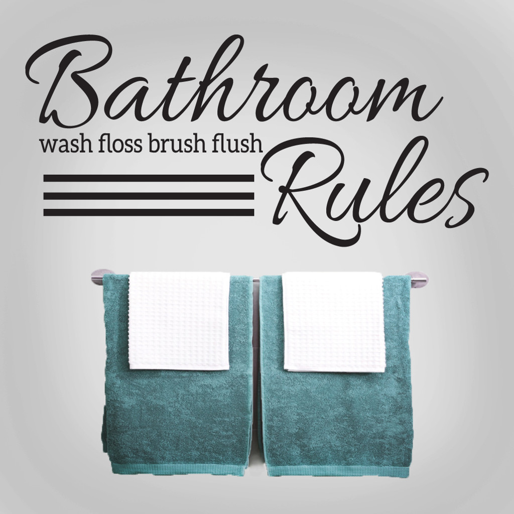 "Bathroom Rules Wall Decals 48"" wide x 22"" tall Sample Image"