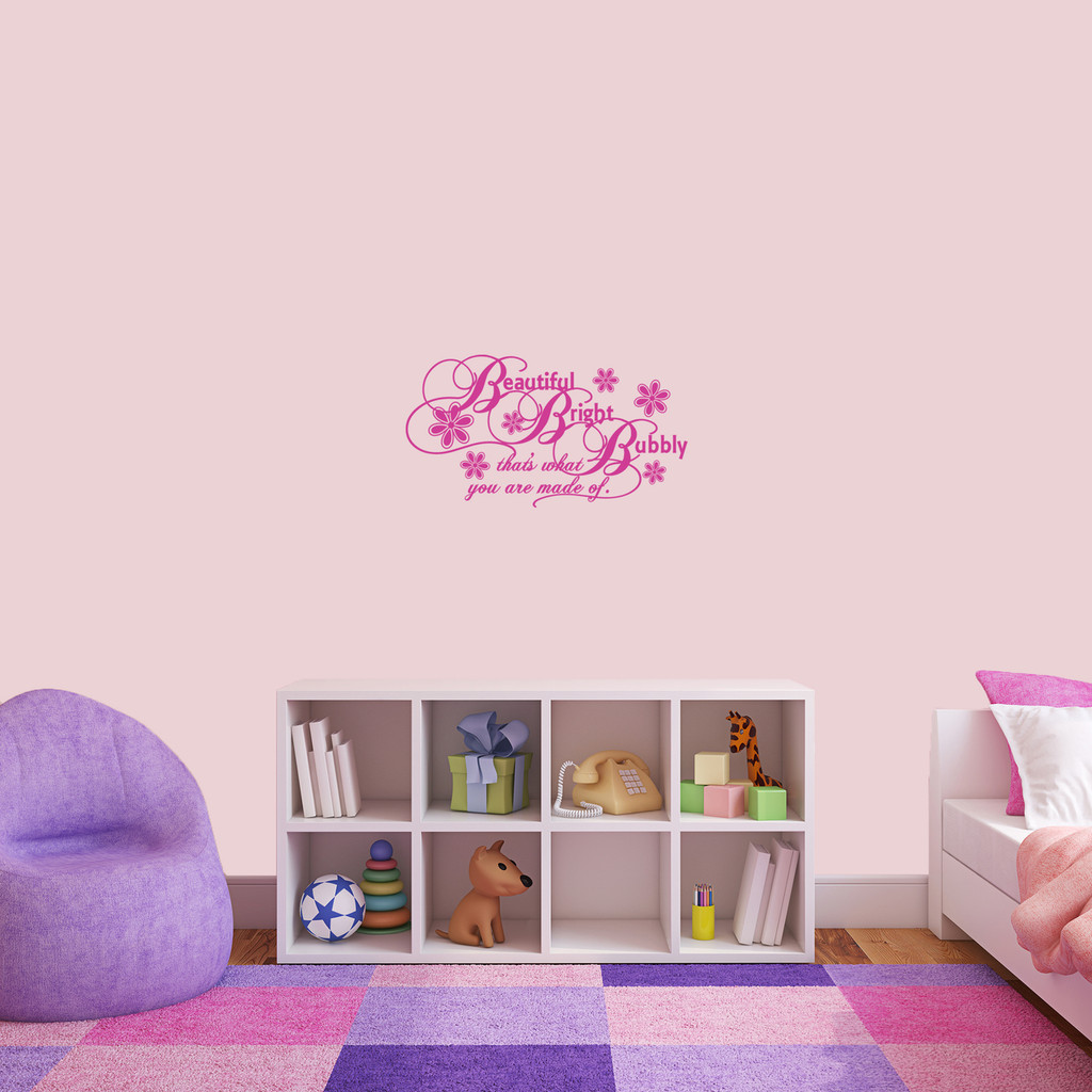 """Beautiful Bright Bubbly Wall Decal 24"""" wide x 13"""" tall Sample Image"""
