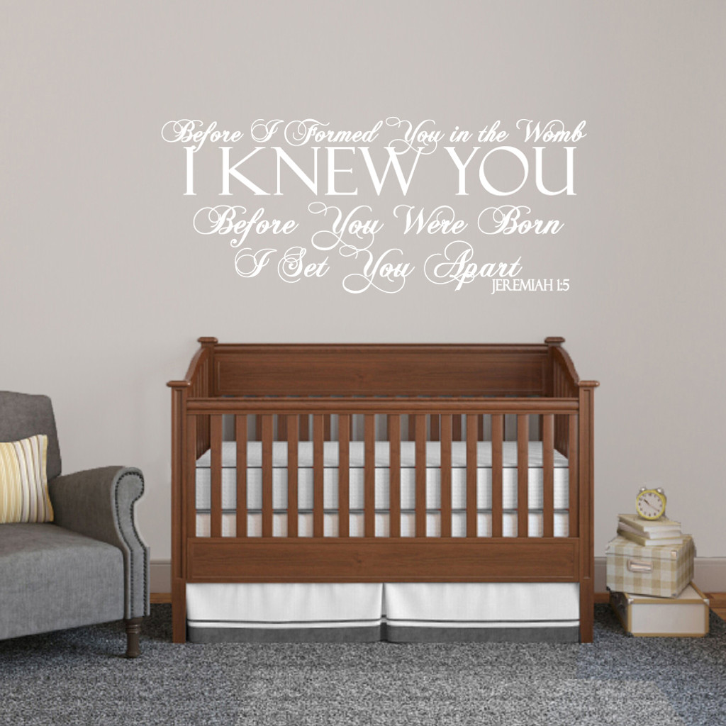 """Before I Formed You Wall Decals Wall Stickers 48"""" wide x 20"""" tall Sample Image"""