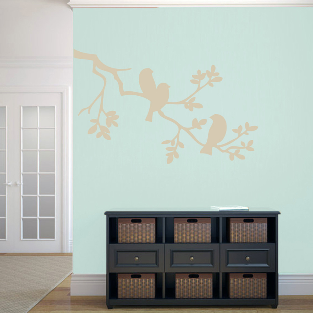 "Birds On A Branch Wall Decals 48"" wide x 30"" tall Sample Image"