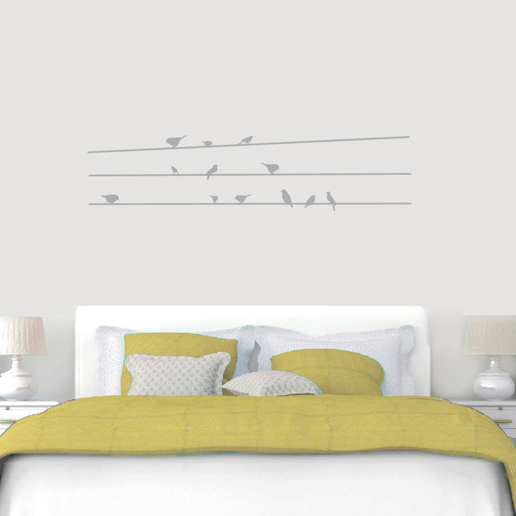 """Birds On Lines Wall Decals 60"""" wide x 14"""" tall Sample Image"""