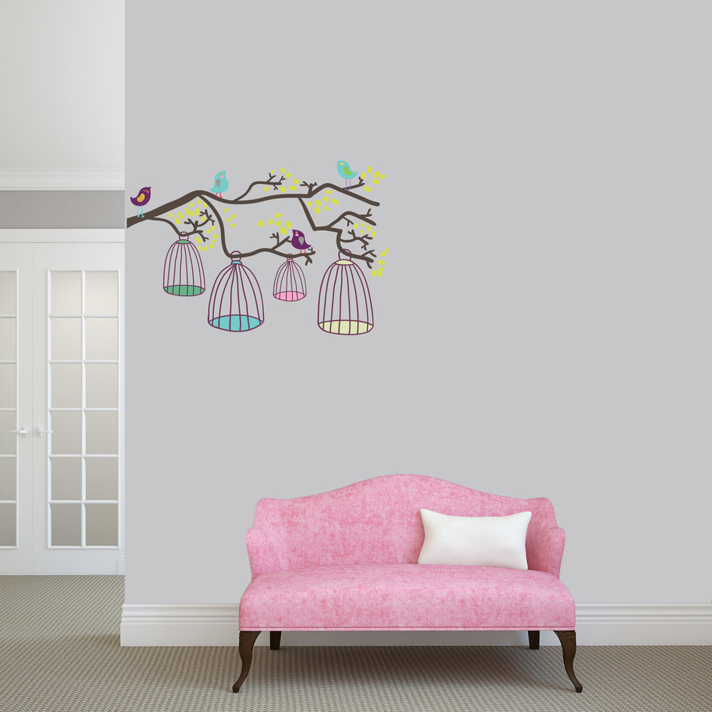 """Birds Out Of Their Cages Printed Wall Decal 36"""" wide x 24"""" tall Sample Image"""