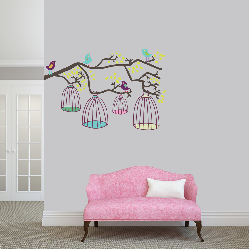 """Birds Out Of Their Cages Printed Wall Decal 48"""" wide x 32"""" tall Sample Image"""
