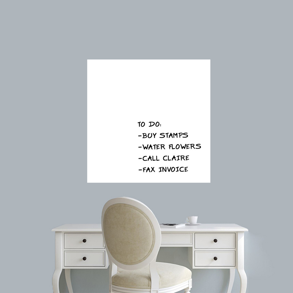 "Dry Erase Square Wall Decals 23"" wide x 23"" tall Sample Image (writing not included)"