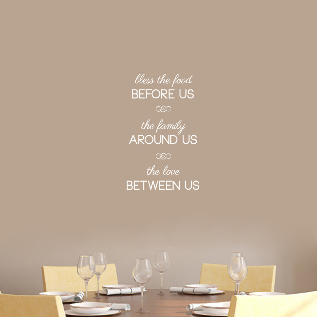 """Bless The Food Before Us Wall Decals 15"""" wide x 24"""" tall Sample Image"""