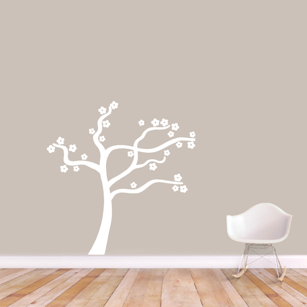 "Blowing Flower Tree Wall Decal Wall Stickers 48"" wide x 43"" tall Sample Image"