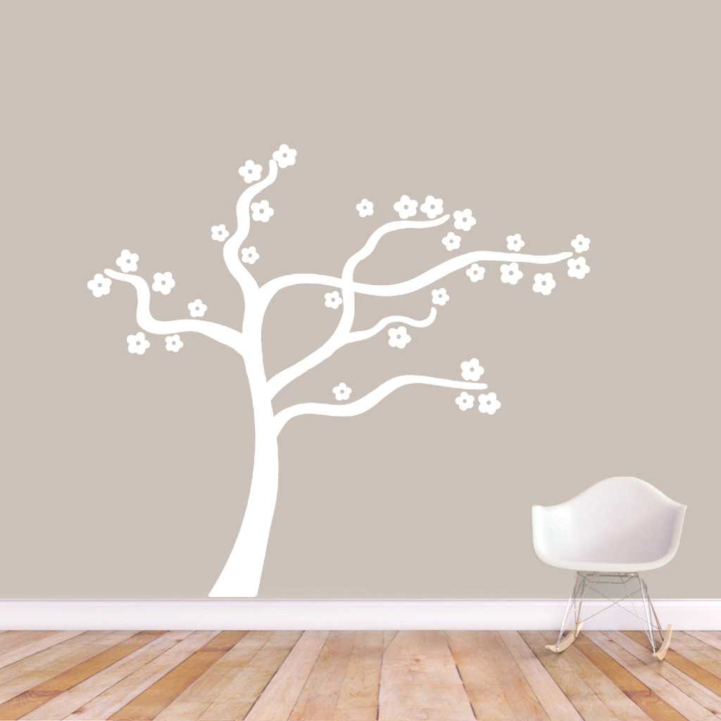 "Blowing Flower Tree Wall Decal Wall Stickers 60"" wide x 54"" tall Sample Image"