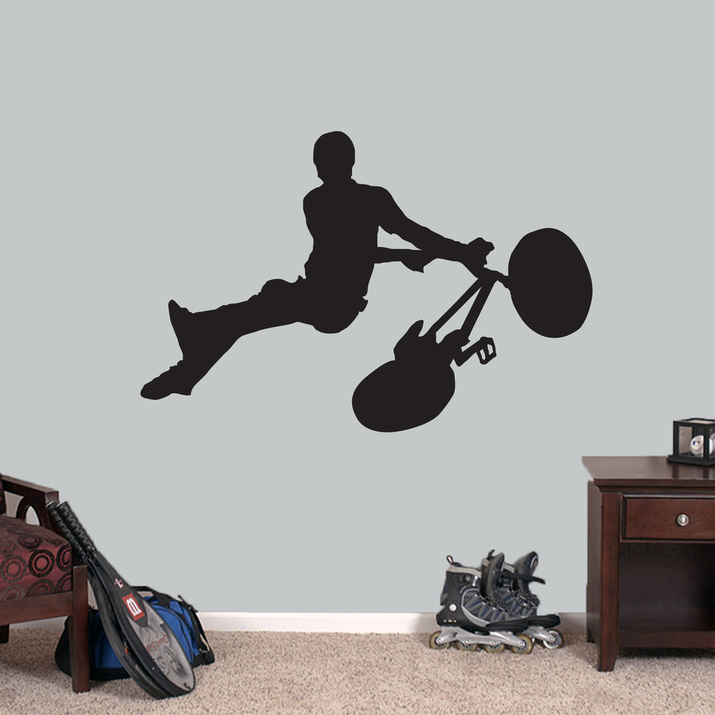 """BMX Bicycle Wall Decal 48"""" wide x 32"""" tall Sample Image"""