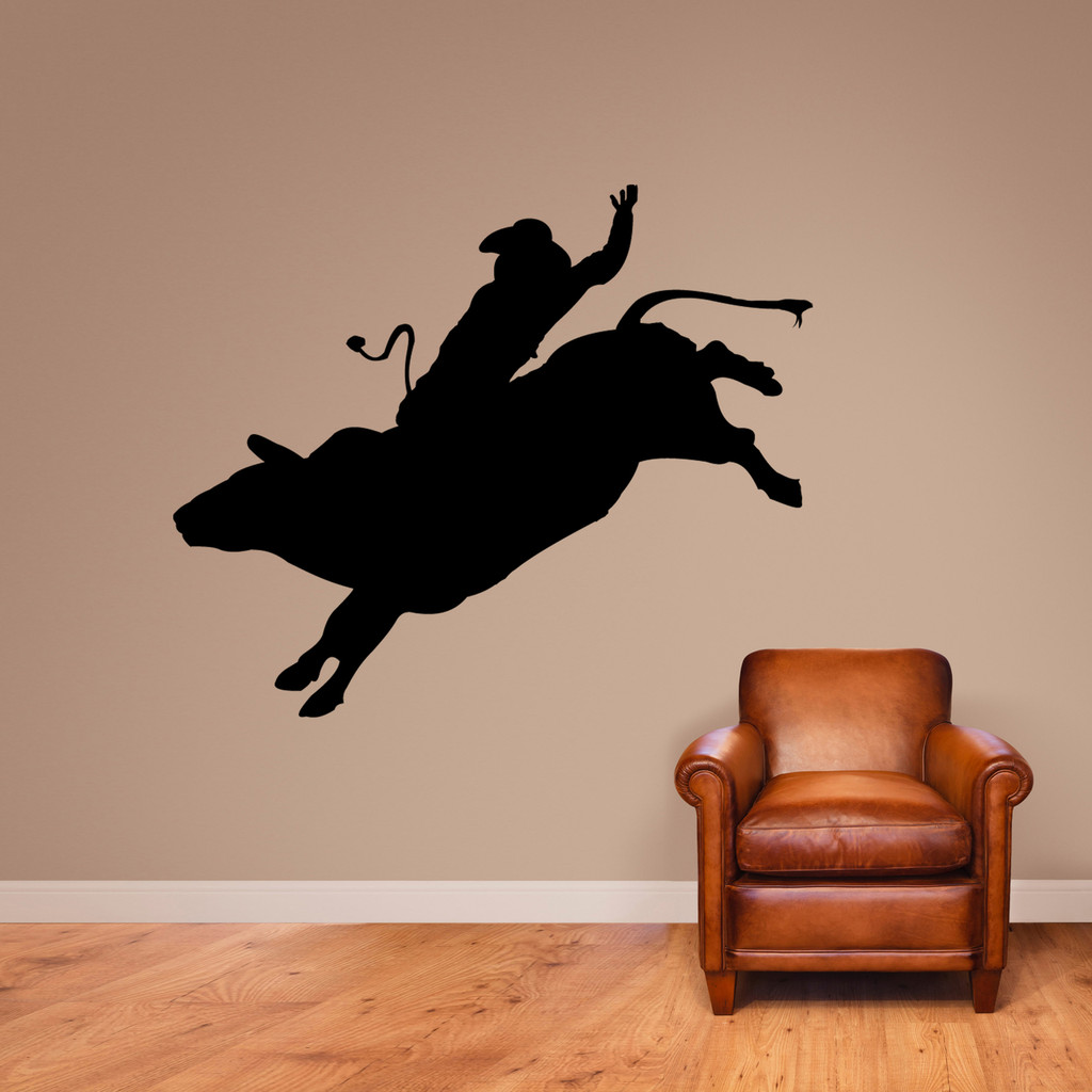 "Bull Rider Wall Decal 60"" wide x 50"" tall Sample Image"
