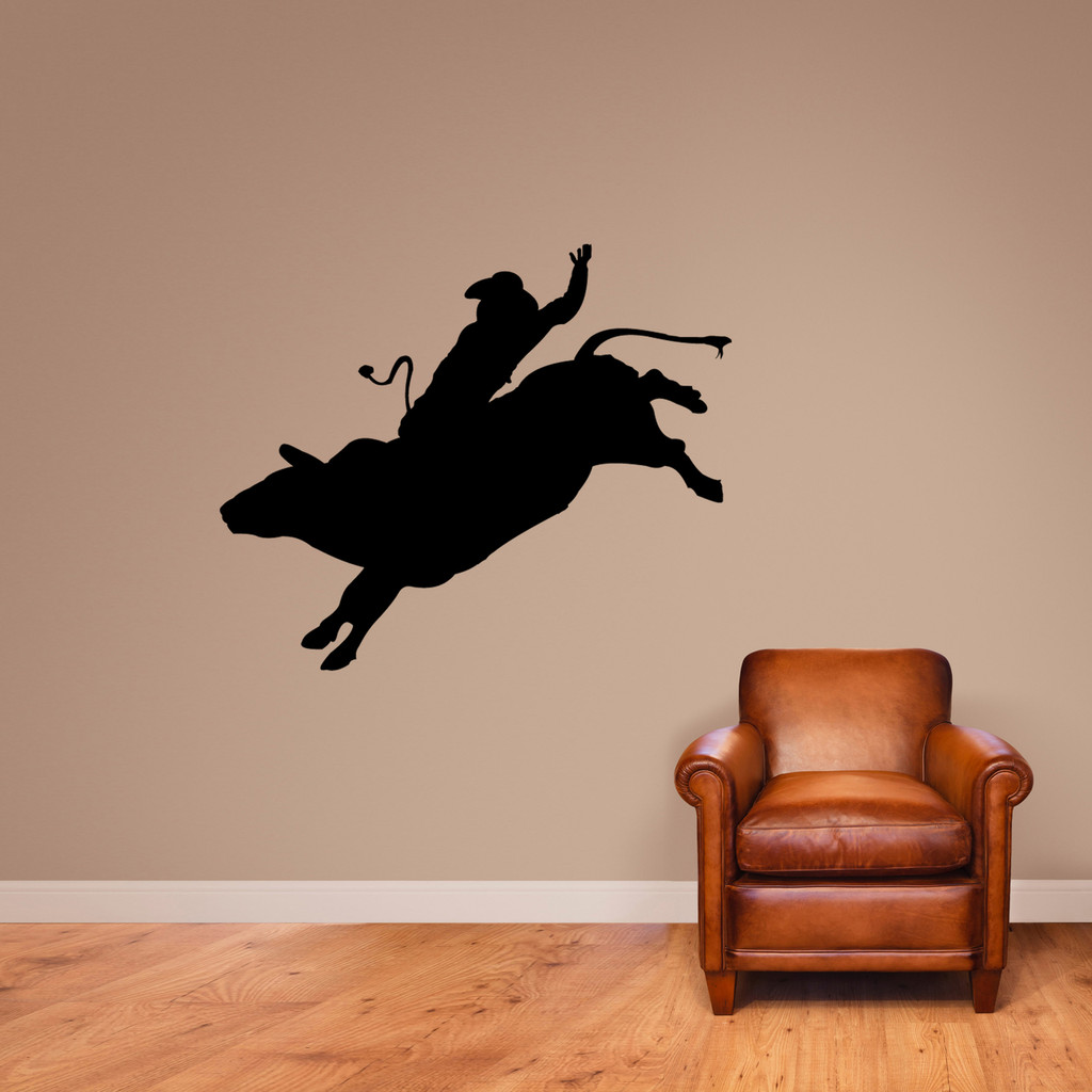 "Bull Rider Wall Decal 48"" wide x 40"" tall Sample Image"