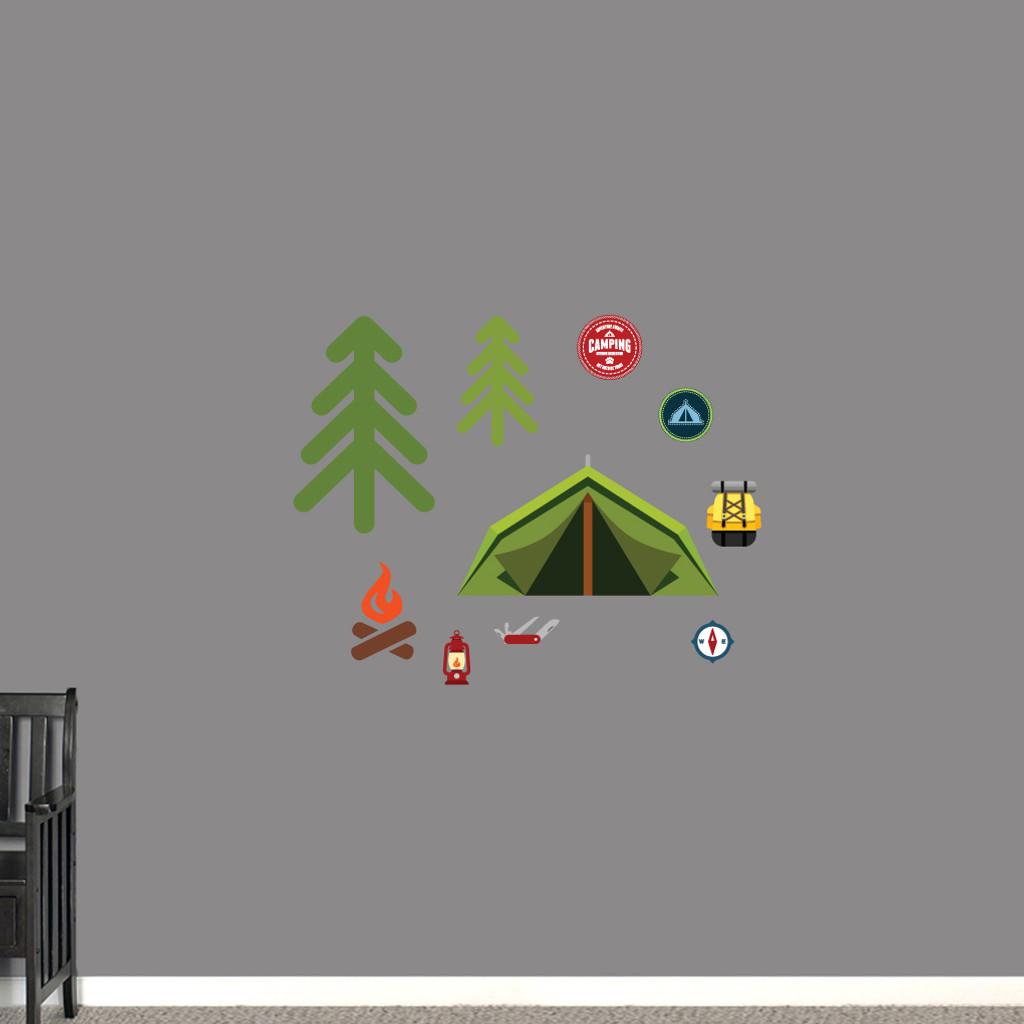 Camping Set Printed Wall Decals Small Sample Image