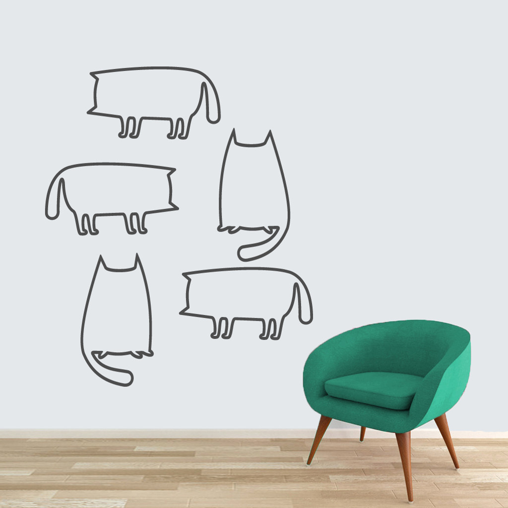 Cat Outlines Wall Decals Large Sample Image