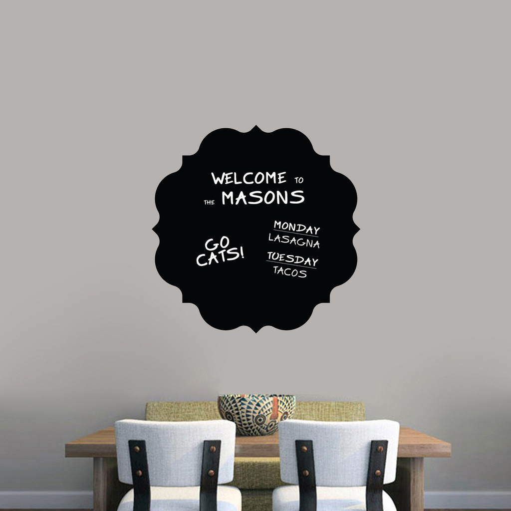 """Chalkboard Badge Wall Decals 23"""" wide x 23"""" tall Sample Image (writing not included)"""