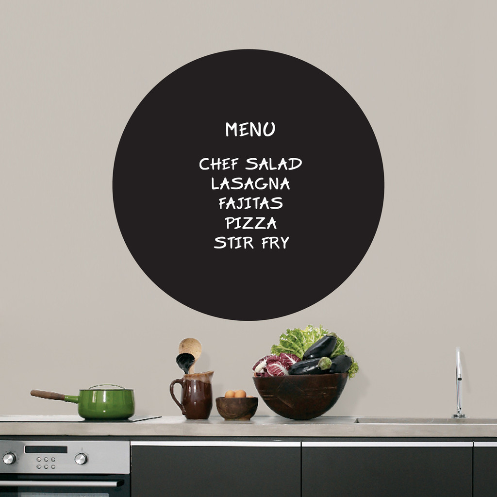 """Chalkboard Circle Wall Decals 23"""" wide x 23"""" tall Sample Image (writing not included)"""