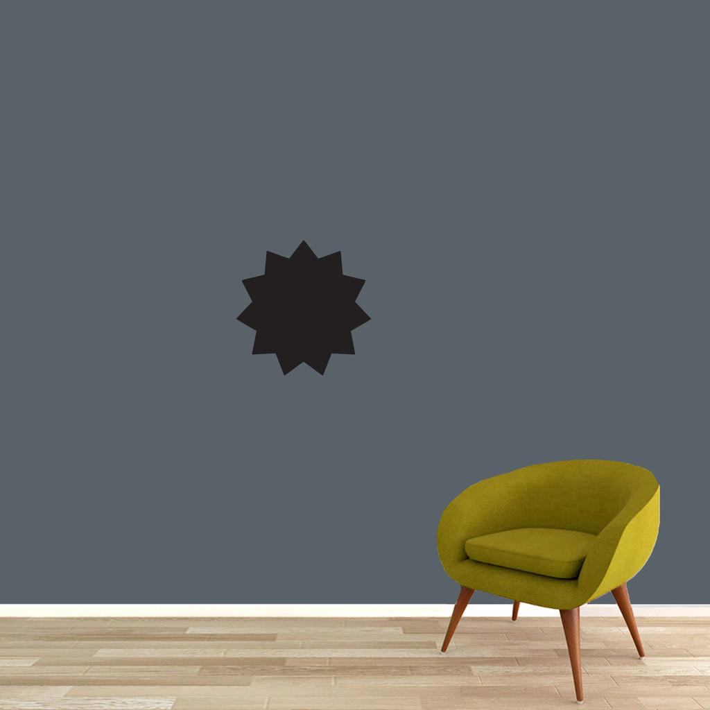 "Chalkboard Starburst Wall Decals 12"" wide x 12"" tall Sample Image"