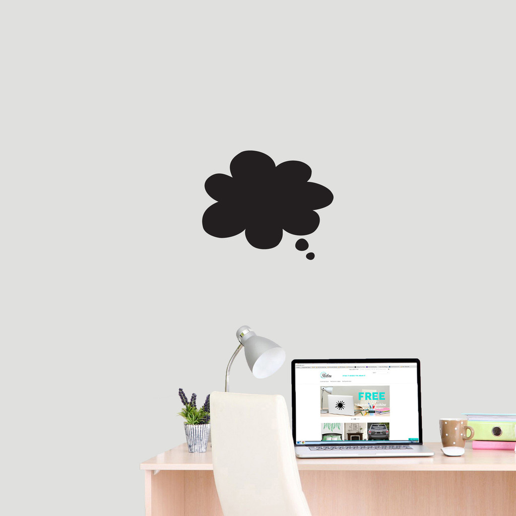 """Chalkboard Thought Bubble Wall Decals 12"""" wide x 10"""" tall Sample Image"""