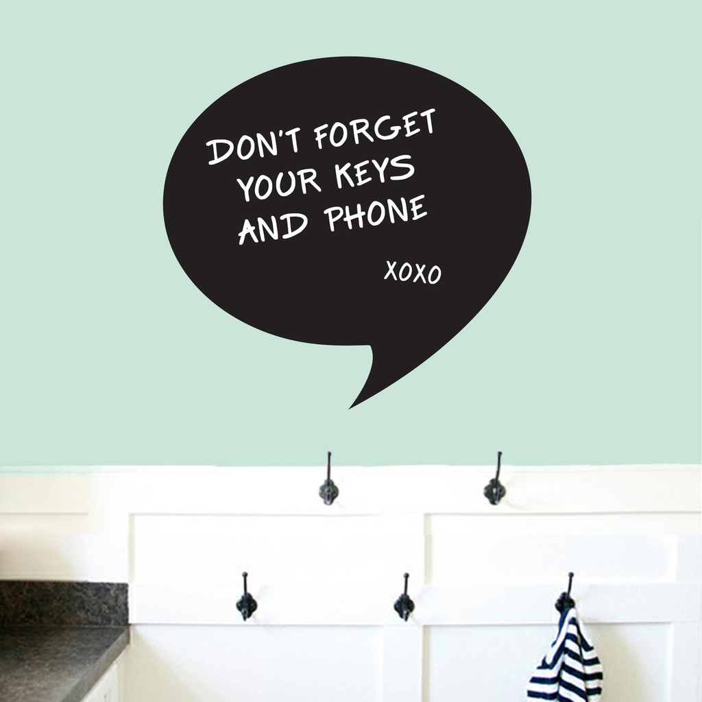 """Chalkboard Word Bubble Wall Decals 24"""" wide x 23"""" tall Sample Image (writing not included)"""