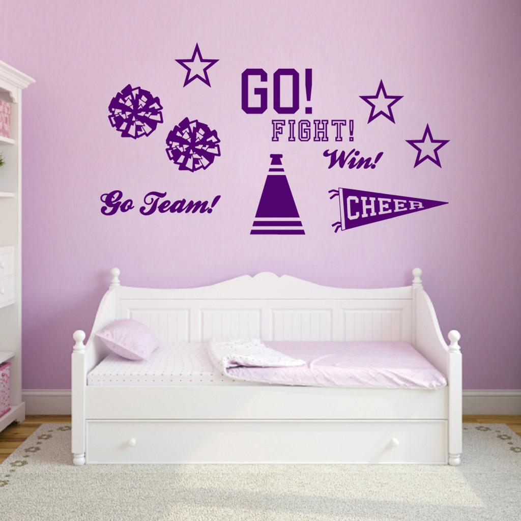 Cheerleading Set Wall Decals Medium Sample Image
