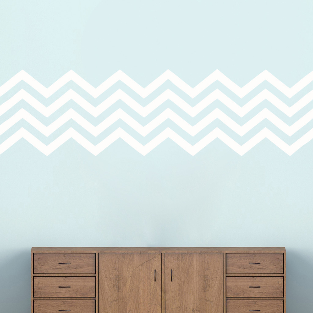 """Chevron Stripes Wall Decals 62"""" wide x 17"""" tall Sample Image"""