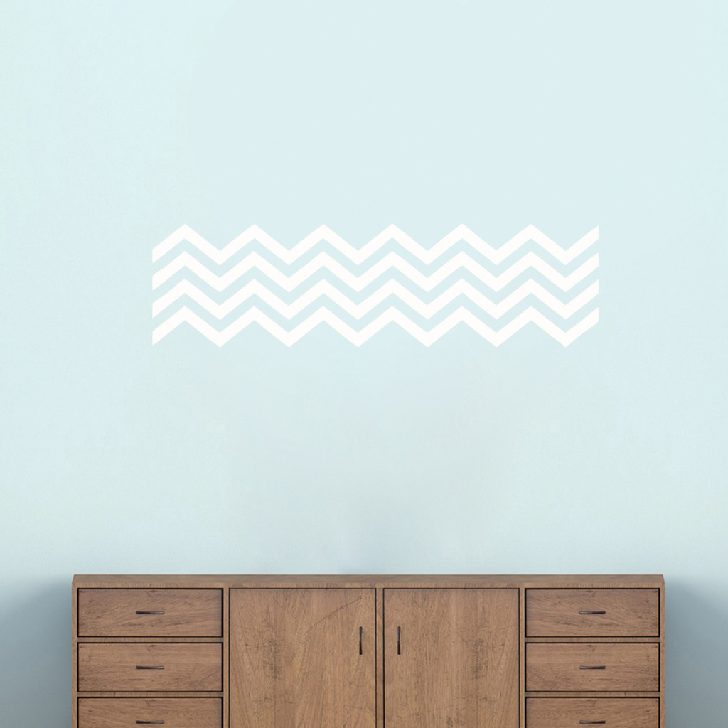 """Chevron Stripes Wall Decals 38"""" wide x 10"""" tall Sample Image"""