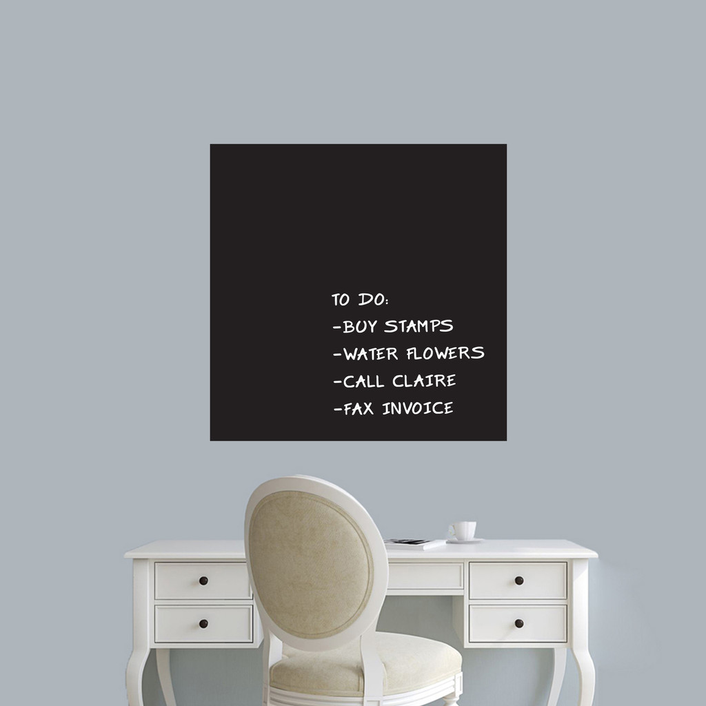 """Chalkboard Square Wall Decals 23"""" wide x 23"""" tall Sample Image (writing not included)"""
