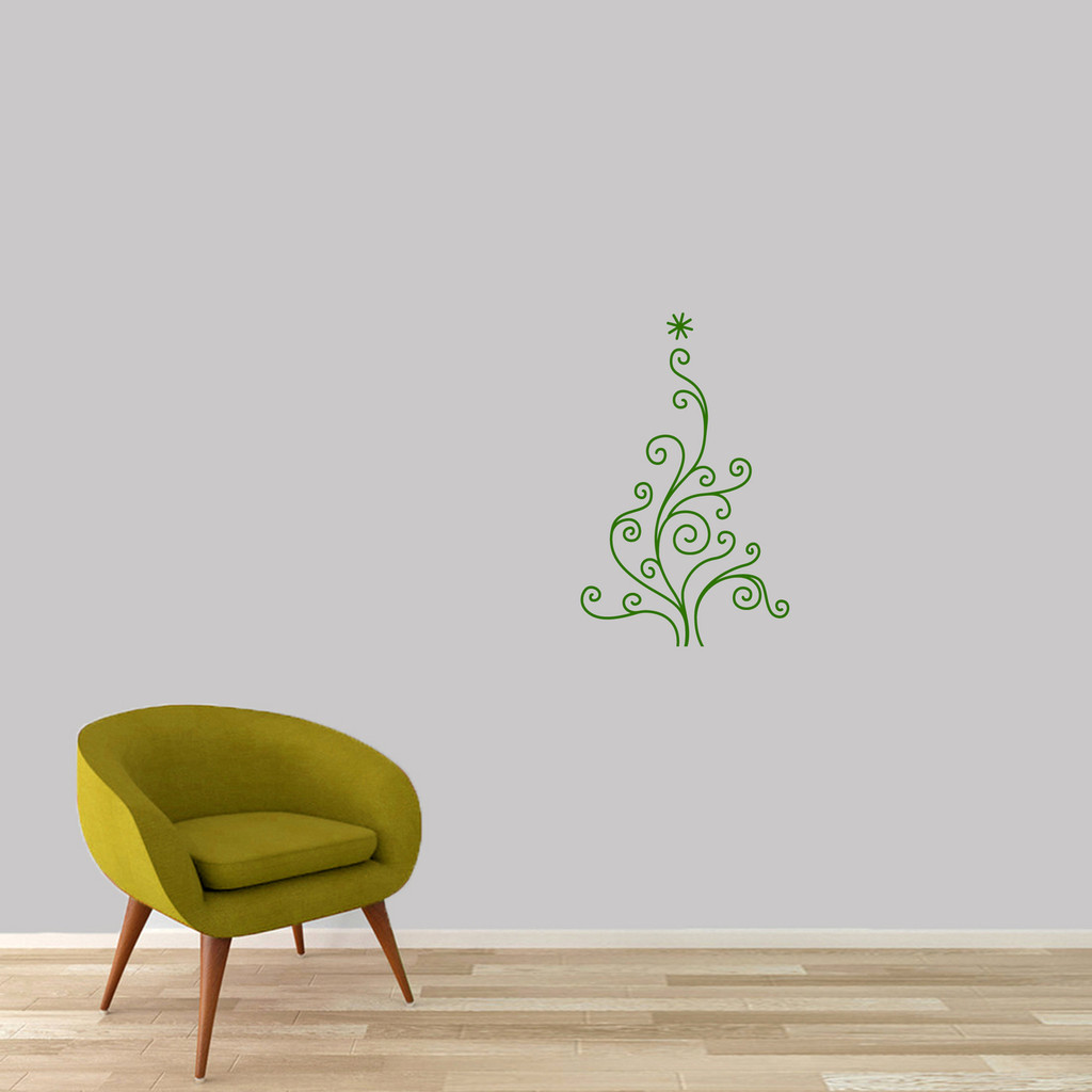 "Christmas Tree Wall Decal 15"" wide x 24"" tall Sample Image"