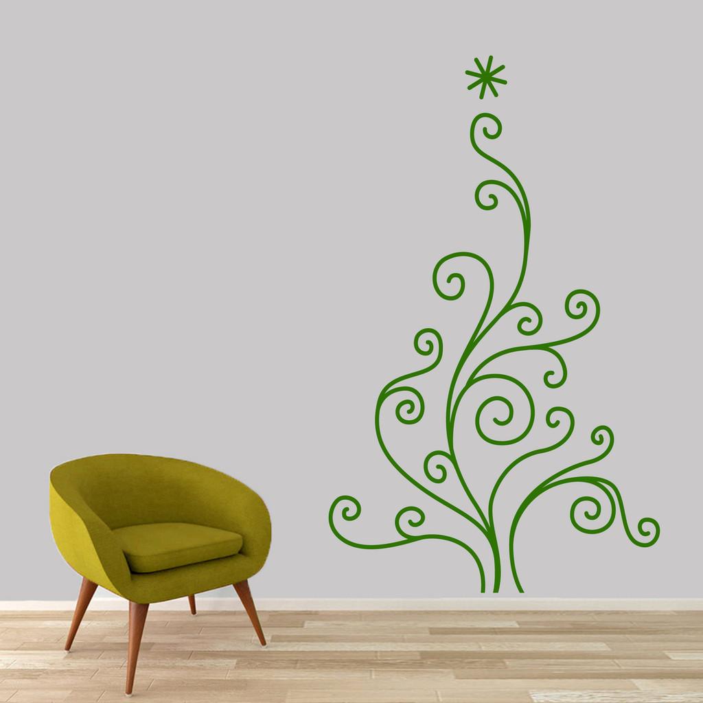 "Christmas Tree Wall Decal 37"" wide x 60"" tall Sample Image"